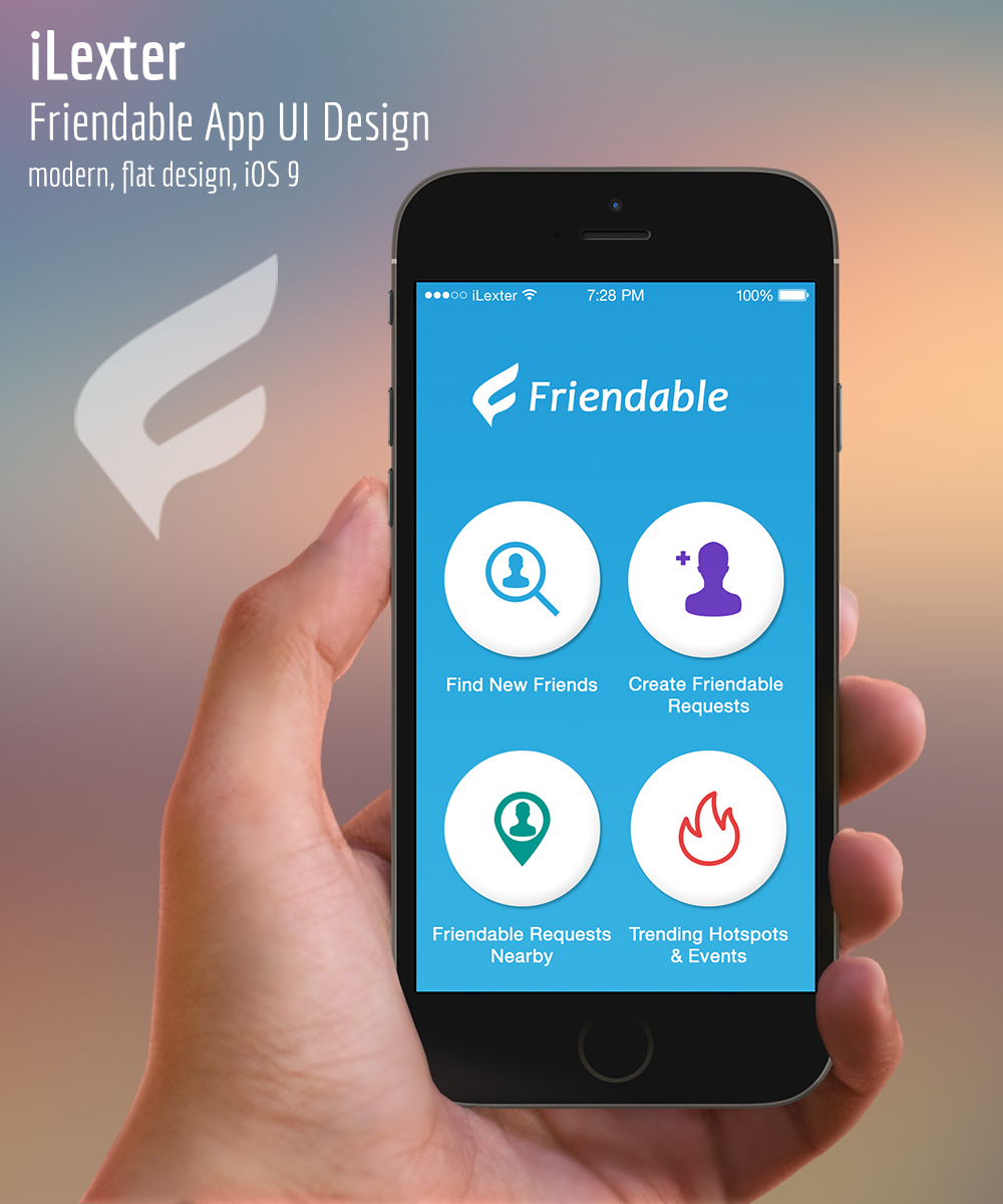 Modern Personable App Design For Friendable Inc By