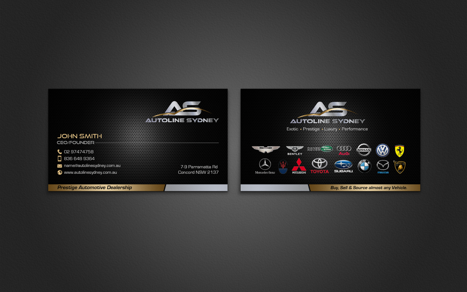 Professional Upmarket Automotive Business Card Design For A