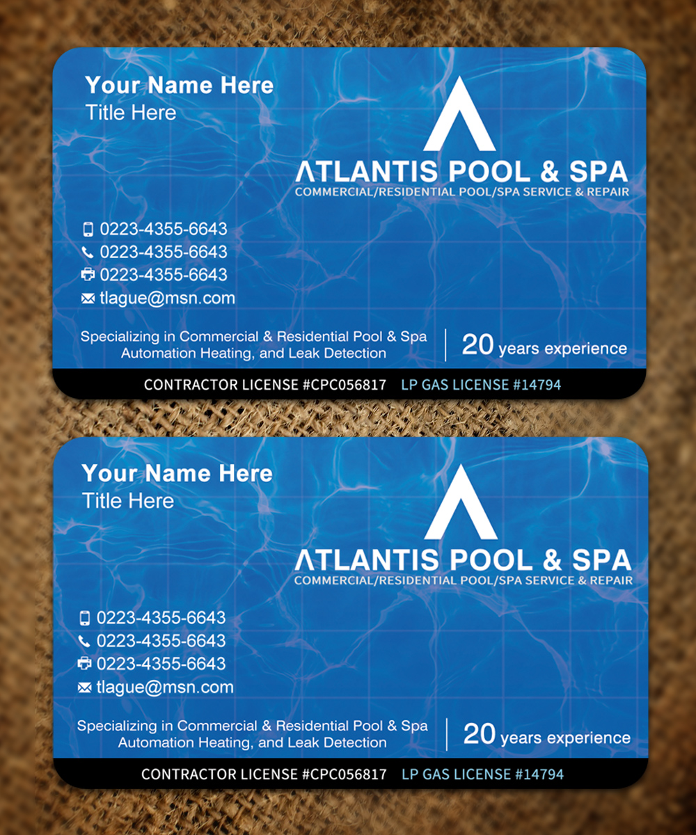 Upmarket elegant business card design for atlantis poolspa business card design by sandaruwan for commercialresidential poolspa service repair business reheart Choice Image