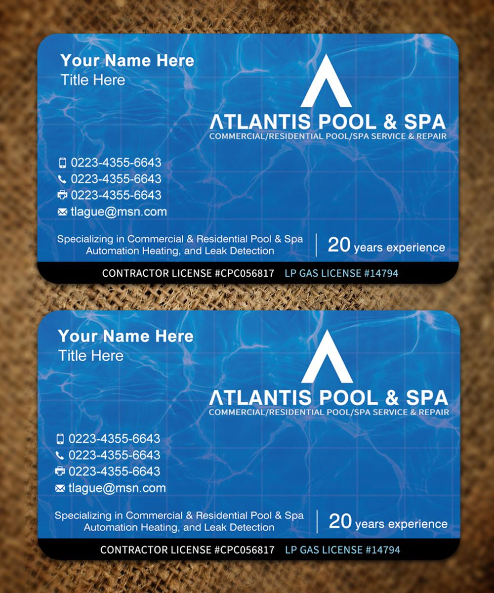 Upmarket, Elegant, Business Business Card Design for Atlantis Pool ...