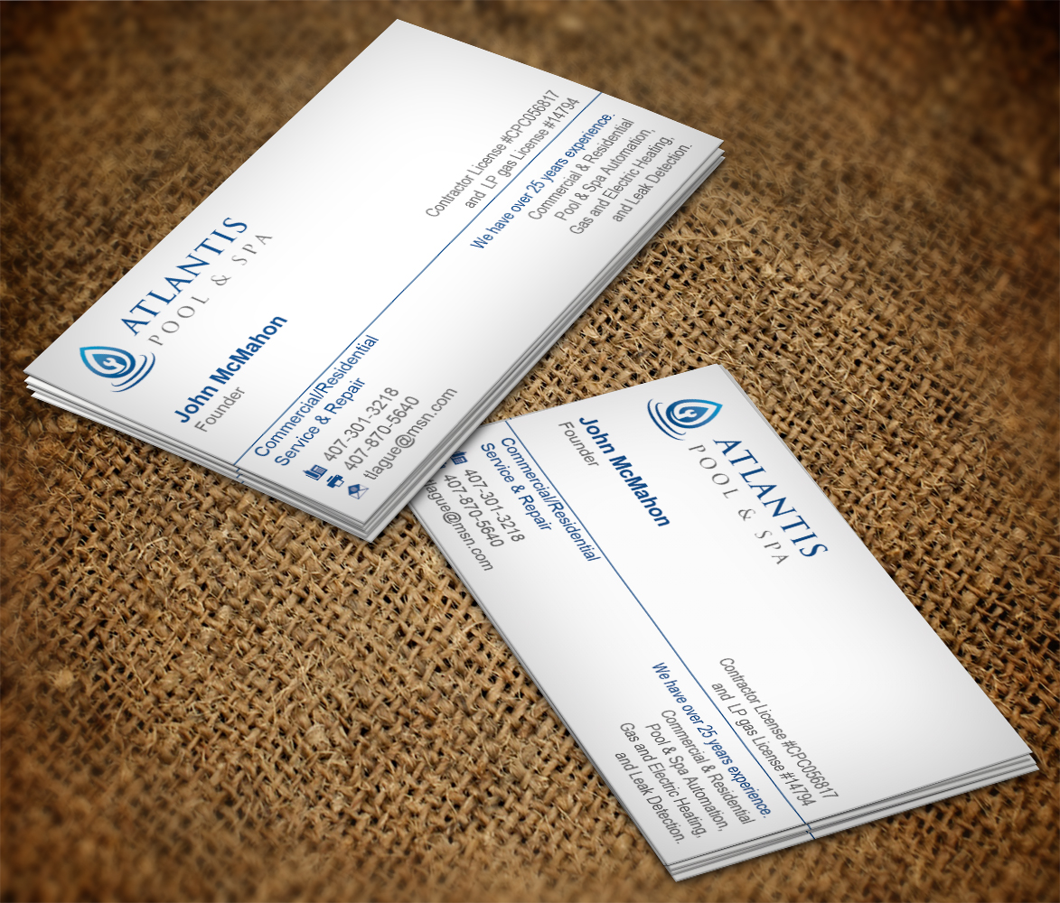 Exklusiv elegant business card design for atlantis pool for Pool design aufkleber