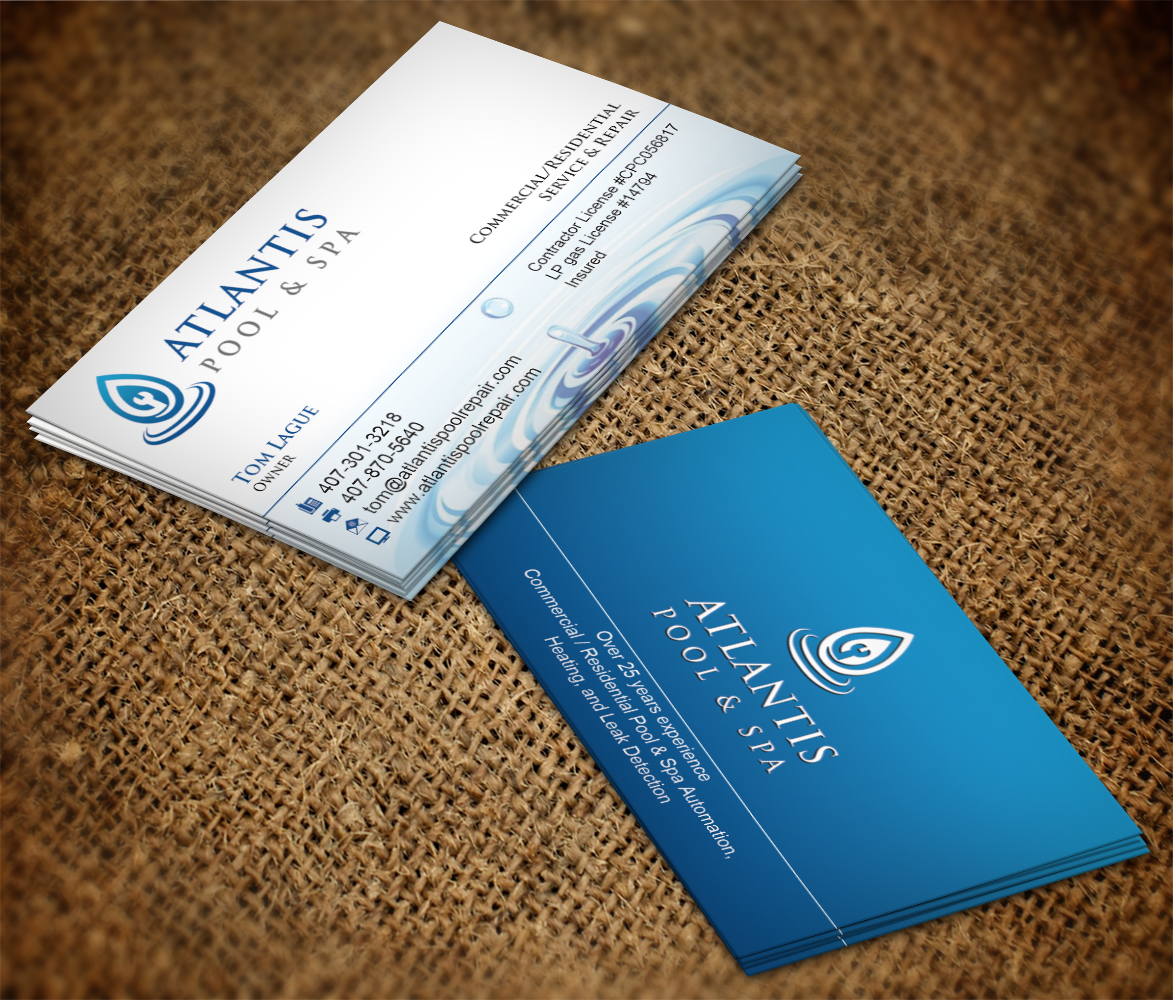 Upmarket elegant business card design for atlantis poolspa business card design by nuhanenterprise for commercialresidential poolspa service repair business reheart Choice Image