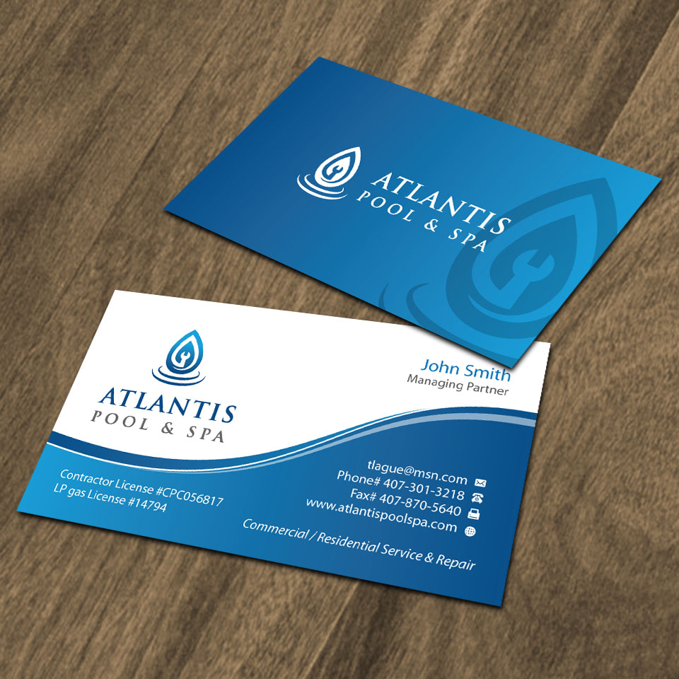 Upmarket elegant business card design for atlantis poolspa business card design by dezero for commercialresidential poolspa service repair business reheart Choice Image