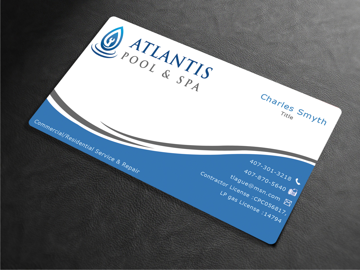 Upmarket elegant business business card design for atlantis pool business card design by ews webs for atlantis poolspa servicerepair llc design reheart Choice Image
