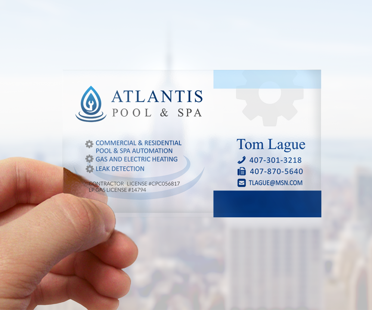 Upmarket elegant business card design for atlantis poolspa business card design by elveneclipse for commercialresidential poolspa service repair business reheart Choice Image