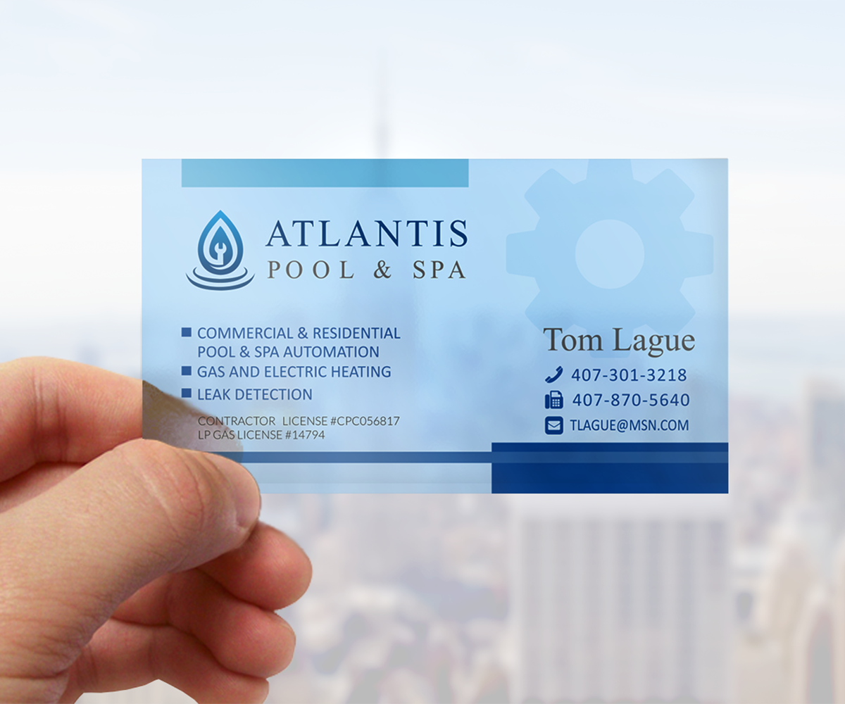 Upmarket elegant business card design for atlantis pool for Pool service business cards