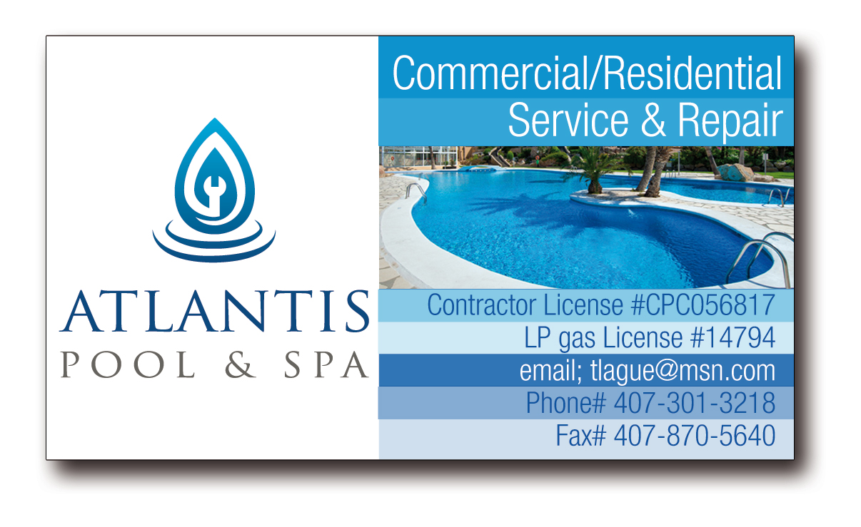 Upmarket elegante business card design for atlantis pool for Pool service business cards