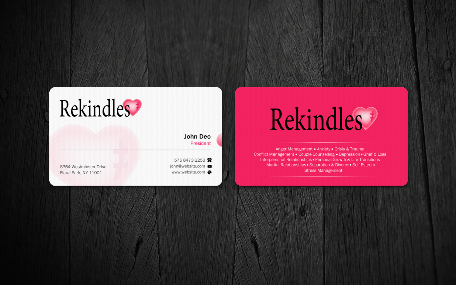 Bold Colorful Mental Health Business Card Design For A Company By