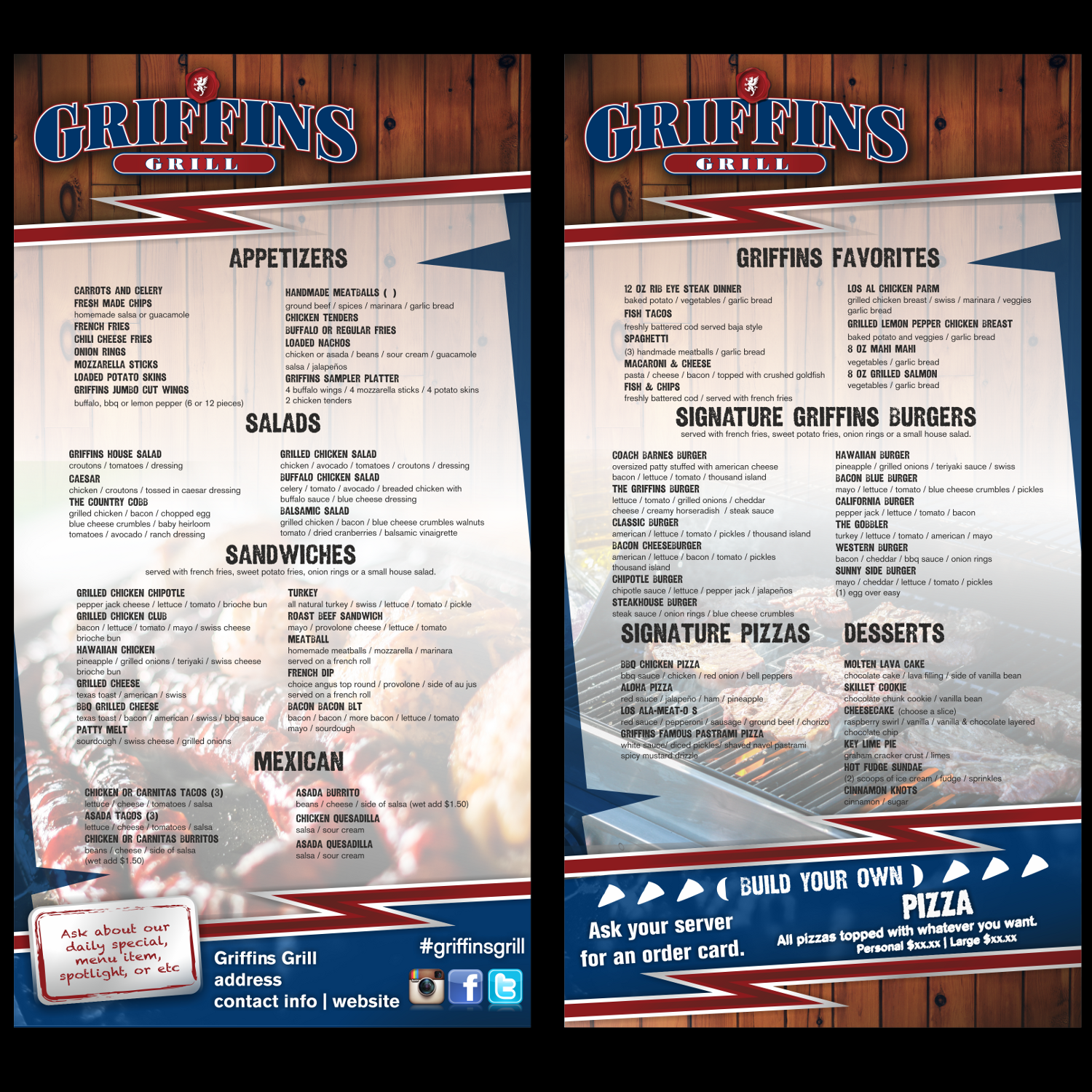 personable, colorful, sports bar menu design for a company by
