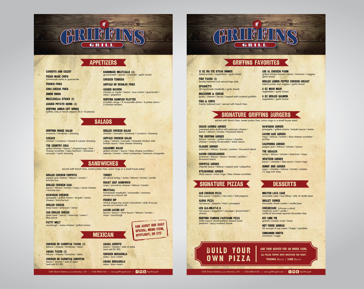personable, colorful, sports bar menu design for a company by nalee