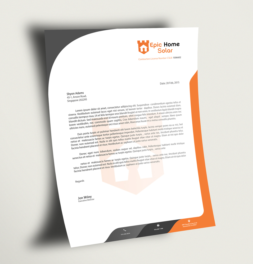 Executive Stationery Letterhead Business Letterhead 8370: Bold, Masculine, It Company Letterhead Design For Epic