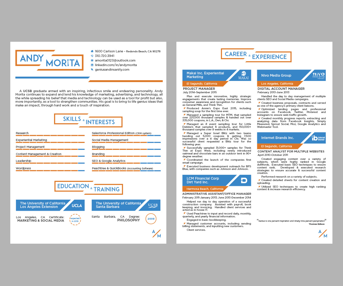 resume Marketing Resume Design 26 elegant resume designs marketing design project for by patrick genius insanity 7500819