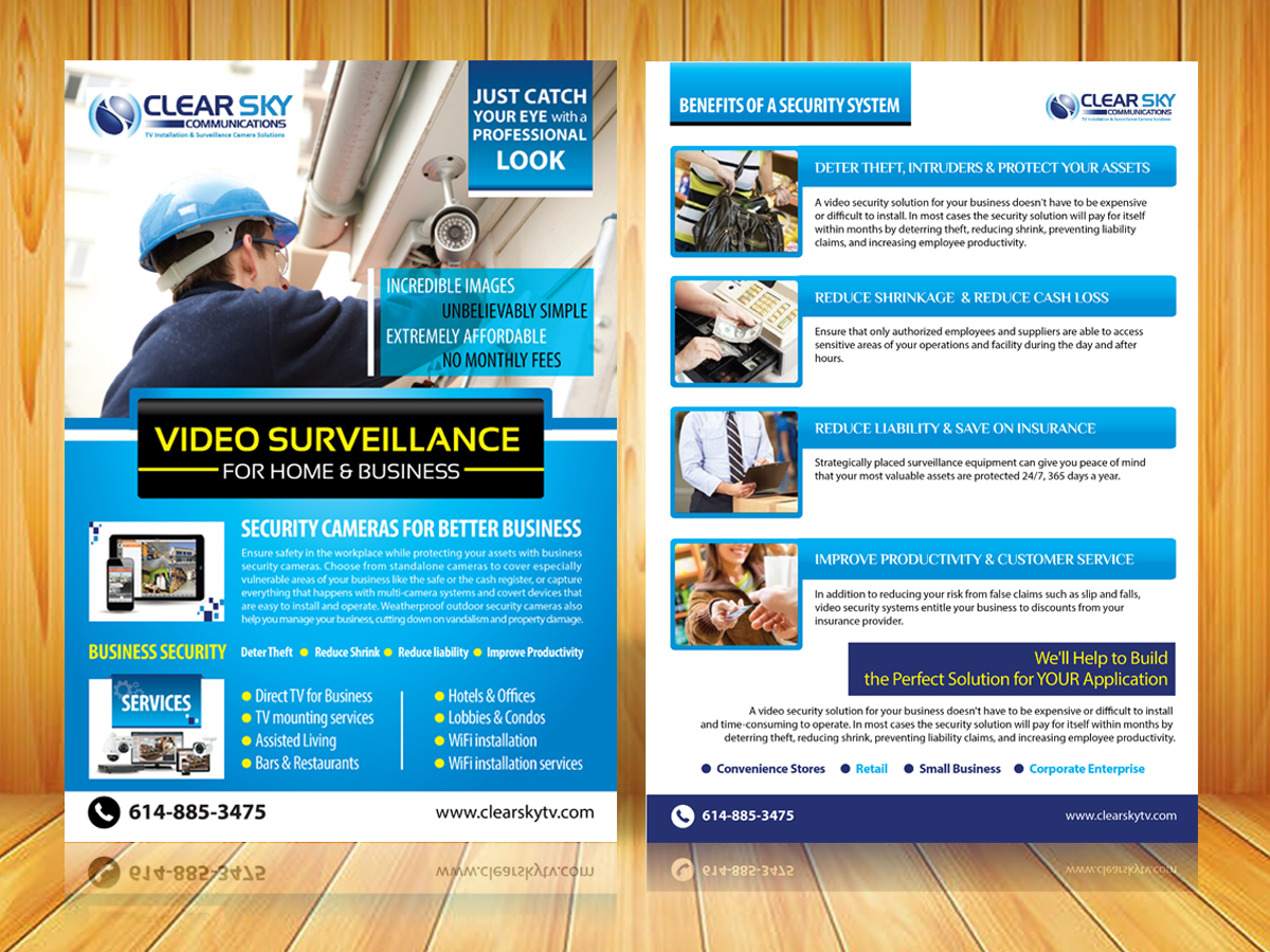 modern professional satellite tv flyer design for clear sky