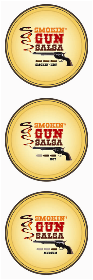 Graphic Design by Kayla Nachtigal - Logo and product label for Smokin' Gun Salsa