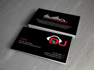 94 modern elegant entertainment business card designs for a business card design design 7363933 submitted to chicago superior entertainment dj business card reheart Image collections