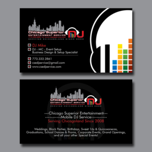 94 modern elegant entertainment business card designs for a business card design design 7352947 submitted to chicago superior entertainment dj business card reheart Image collections