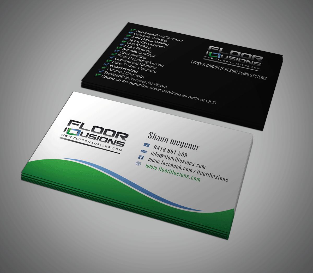 Bold serious business card design for shaun wegener by riz business card design by riz for decorative epoxy flooring business seeks a sleek serious magicingreecefo Choice Image