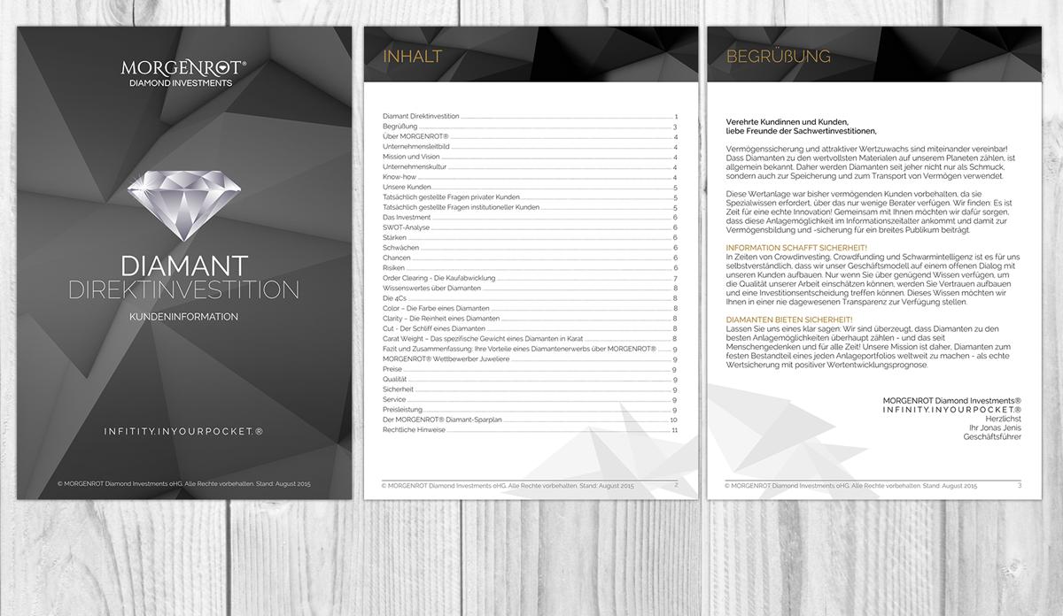Elegant, Serious Brochure Design for MORGENROT Diamond Investments ...