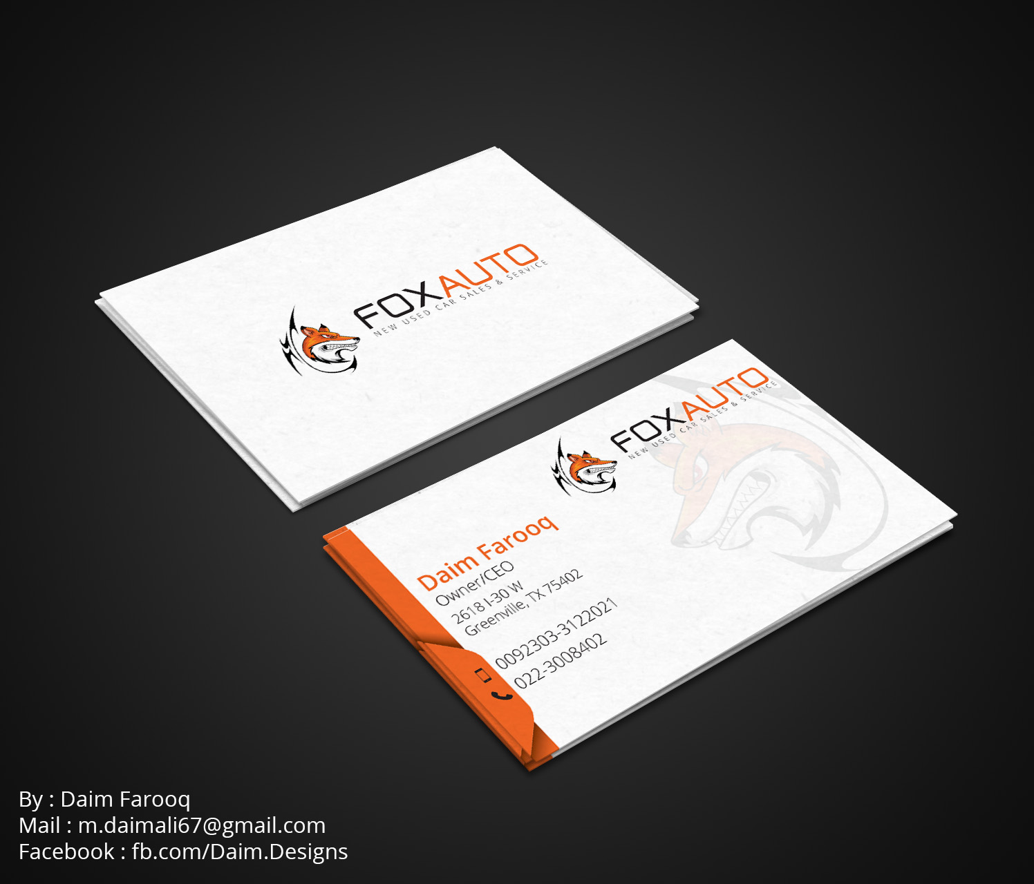 Business business card design for fox auto by daim designs design business business card design for fox auto in united states design 7400140 reheart Images