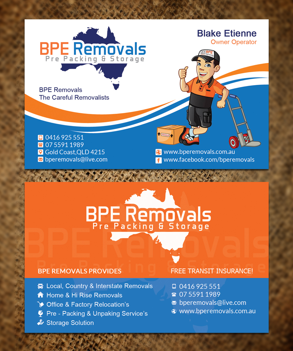 Business Business Card Design for BPE Removals by Sandaruwan ...