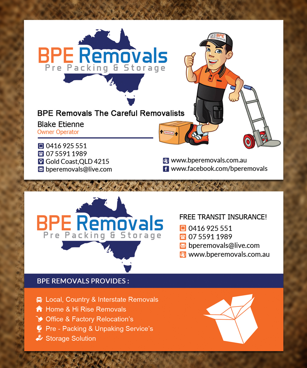 Business business card design for bpe removals by sandaruwan business business card design for bpe removals in australia design 9466538 reheart Choice Image