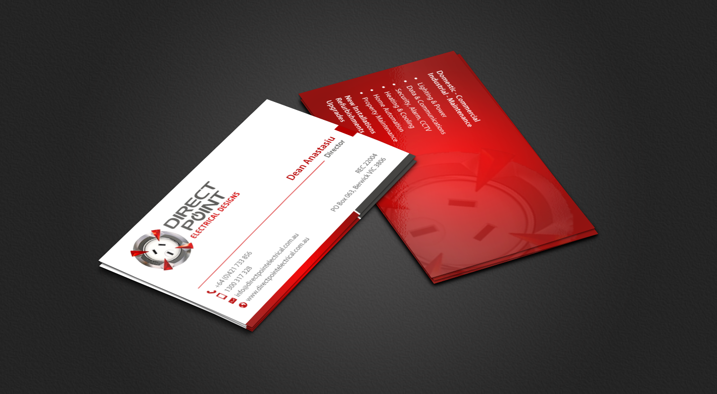 Bold, Modern, Electrician Business Card Design for Direct Point ...