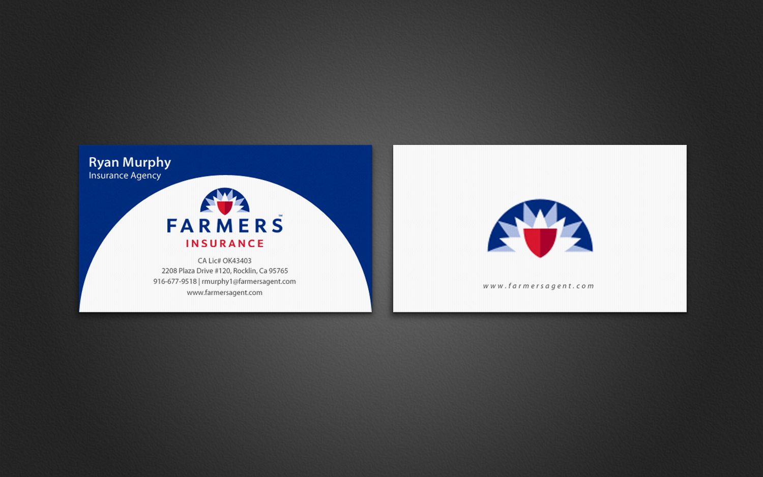 Masculine bold business card design for ryan murphy by business card design by chandrayaaneative for farmers insurance agency design design 7401091 magicingreecefo Gallery