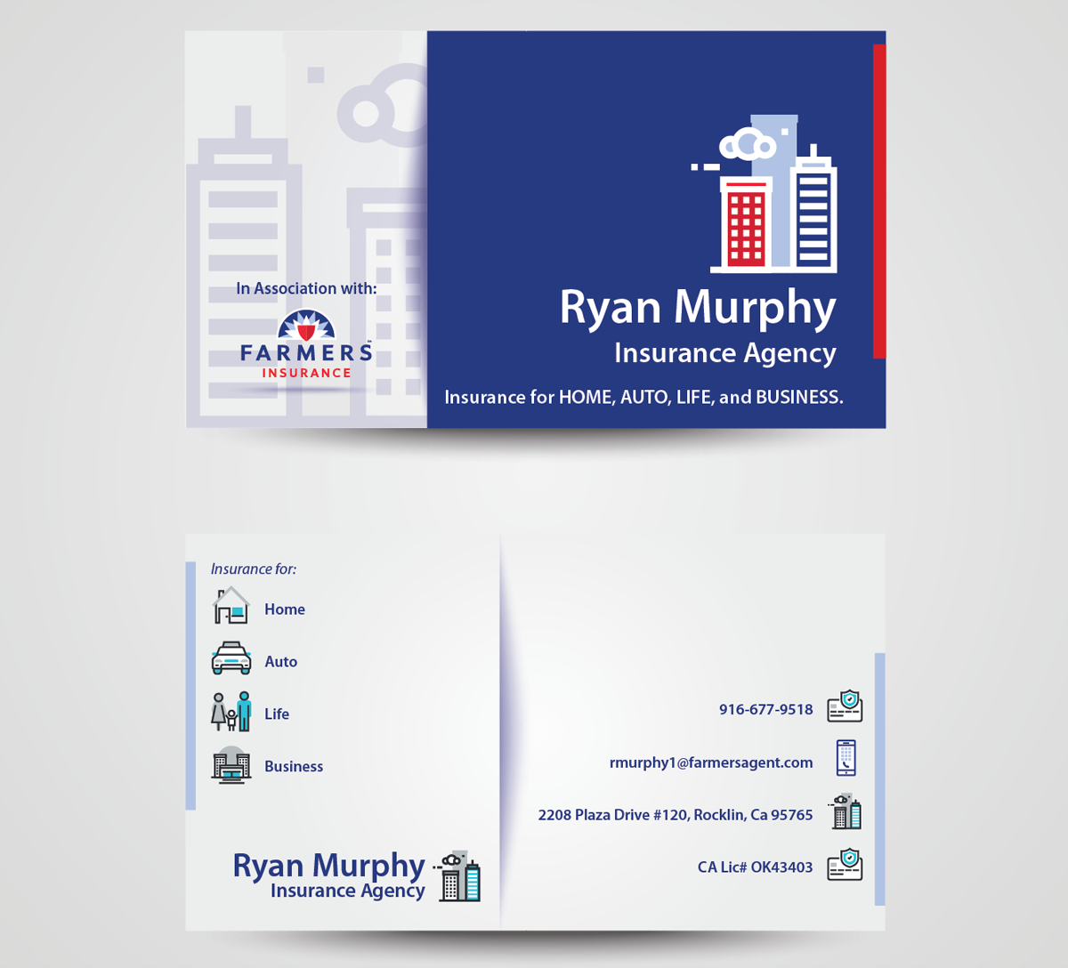 Masculine bold business card design for ryan murphy by whollis63 business card design by whollis63 for farmers insurance agency design design 7438855 magicingreecefo Gallery