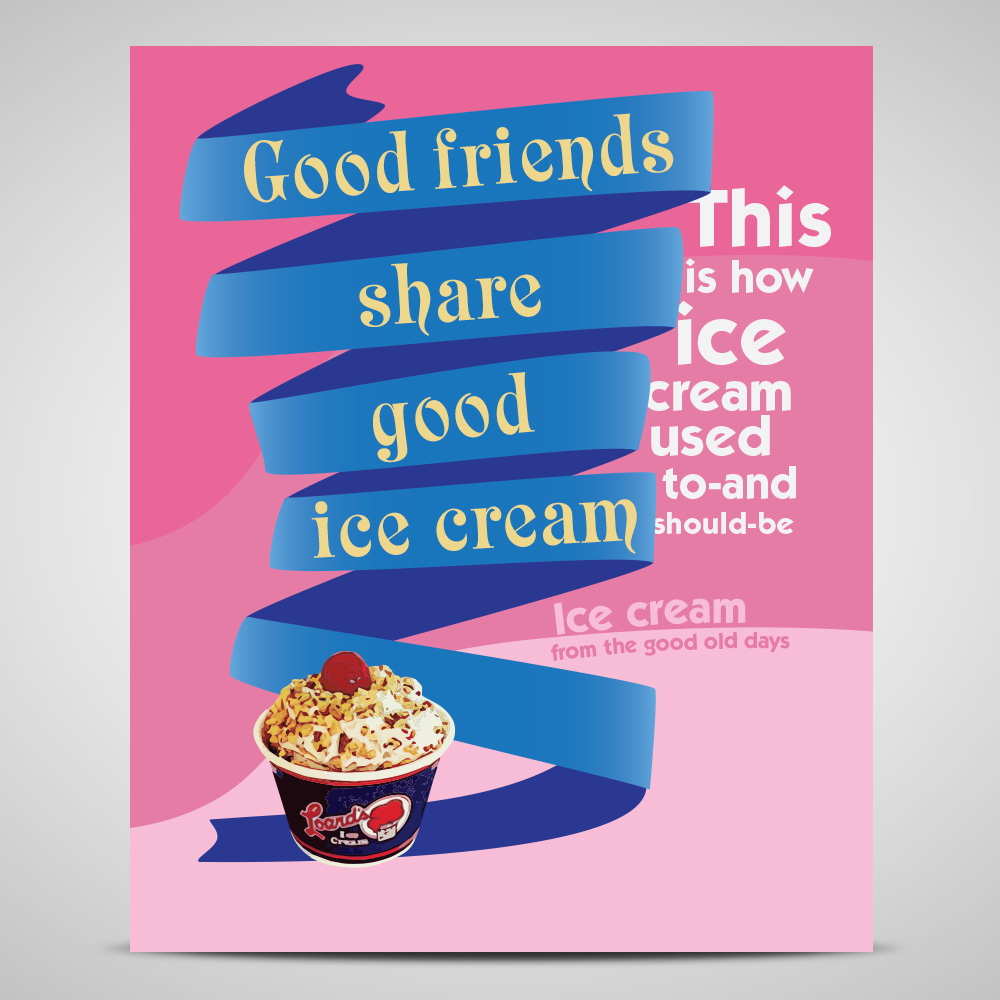 Design poster ice cream - Poster Design By Adowesley For Poster Design Project For An Old Fashioned Ice Cream Parlor