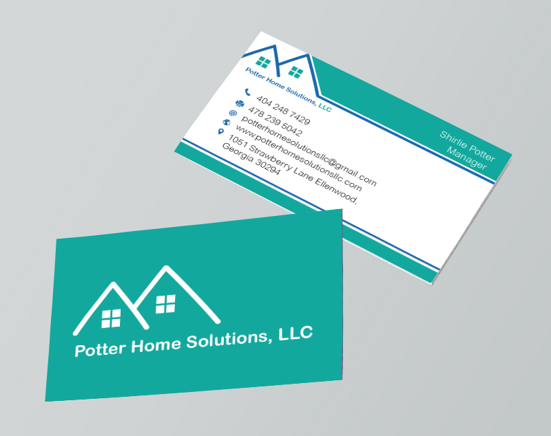 Professional elegant business business card design for potter home business card design by mjsteadfast for potter home solutions llc design 7472932 reheart Choice Image