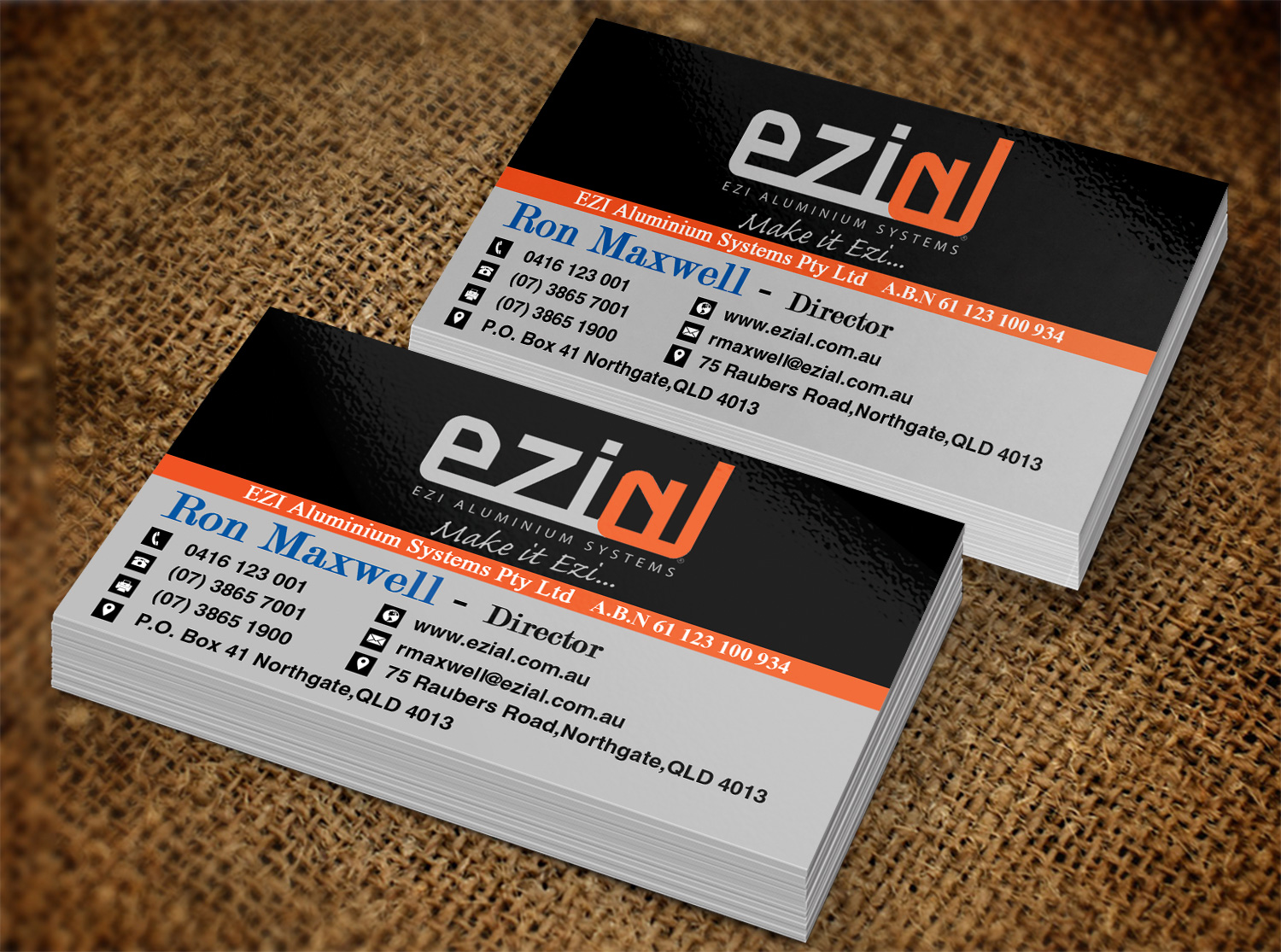 Modern professional building business card design for ezi business card design by creation lanka for ezi aluminium systems pty ltd design 7433735 colourmoves