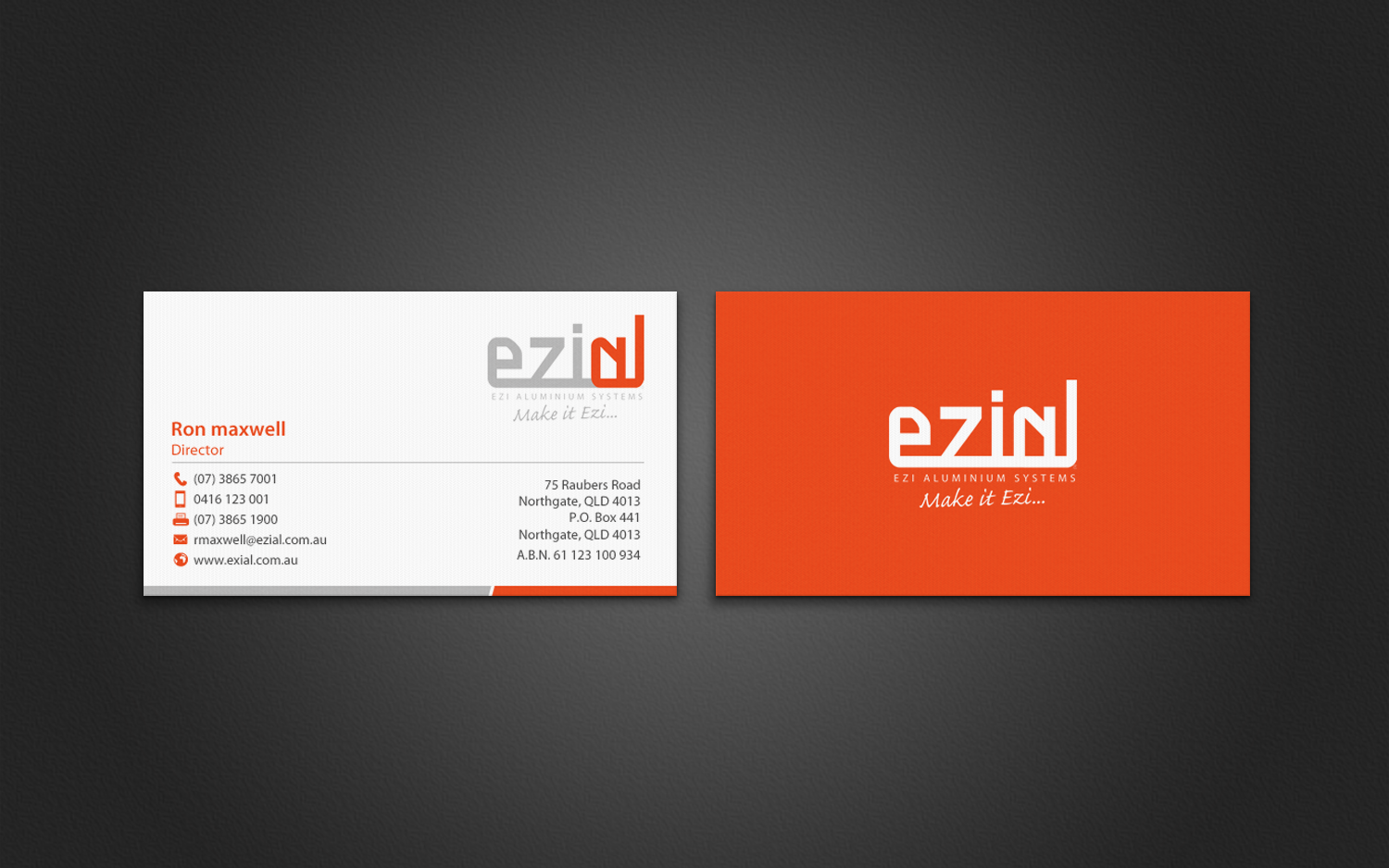 Modern, Professional Business Card Design for Ezi Aluminium Systems ...