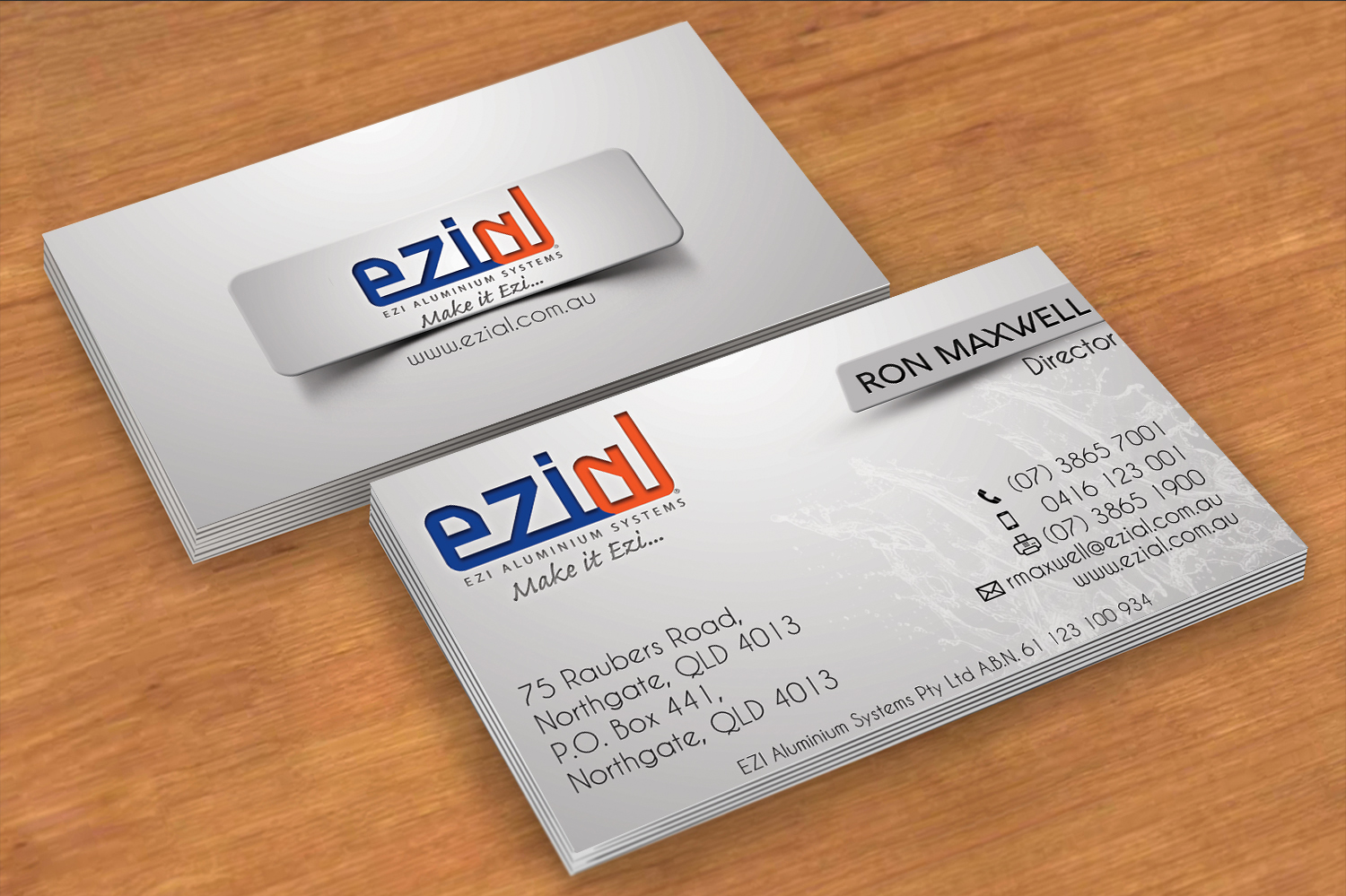 Modern professional building business card design for ezi business card design by vikramrajashekar for ezi aluminium systems pty ltd design colourmoves