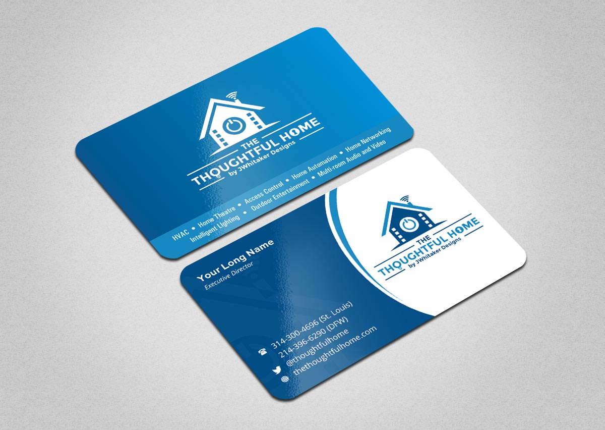 106 bold serious business card designs for a business in united states business card design design 7435345 submitted to home automation av networking