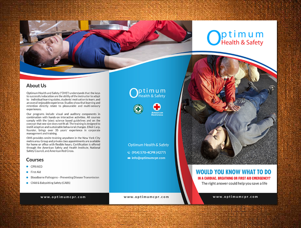 serious masculine flyer design for optimum health and safety by flyer design by hih7 for health and safety training company corporate brochure design design