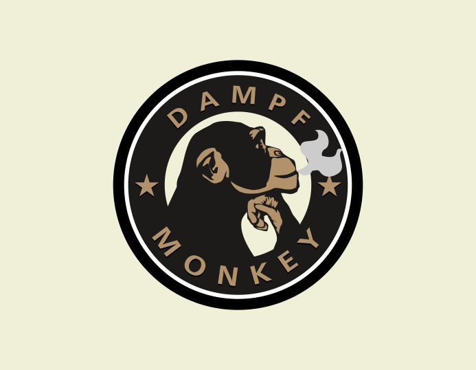 Personable, Colorful, Cigarette Logo Design for Dampf Monkey