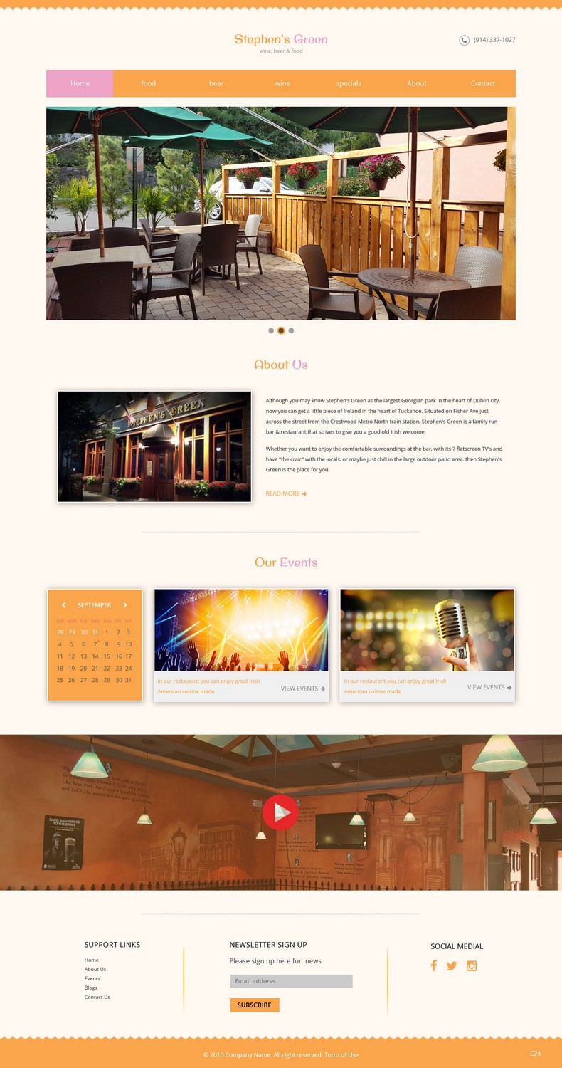 Playful modern restaurant web design for a company by pb