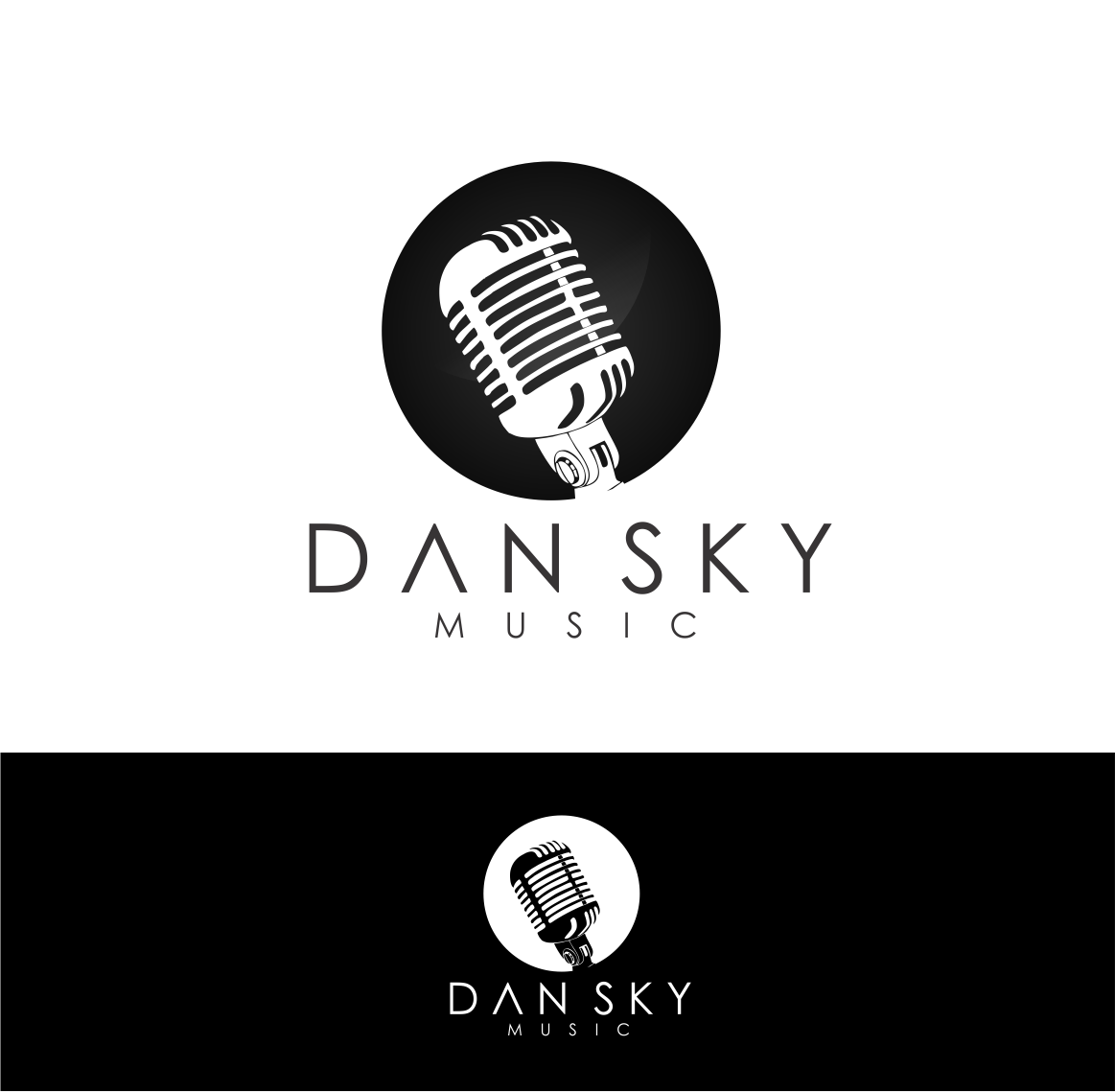 bold modern it company logo design for dan sky music by