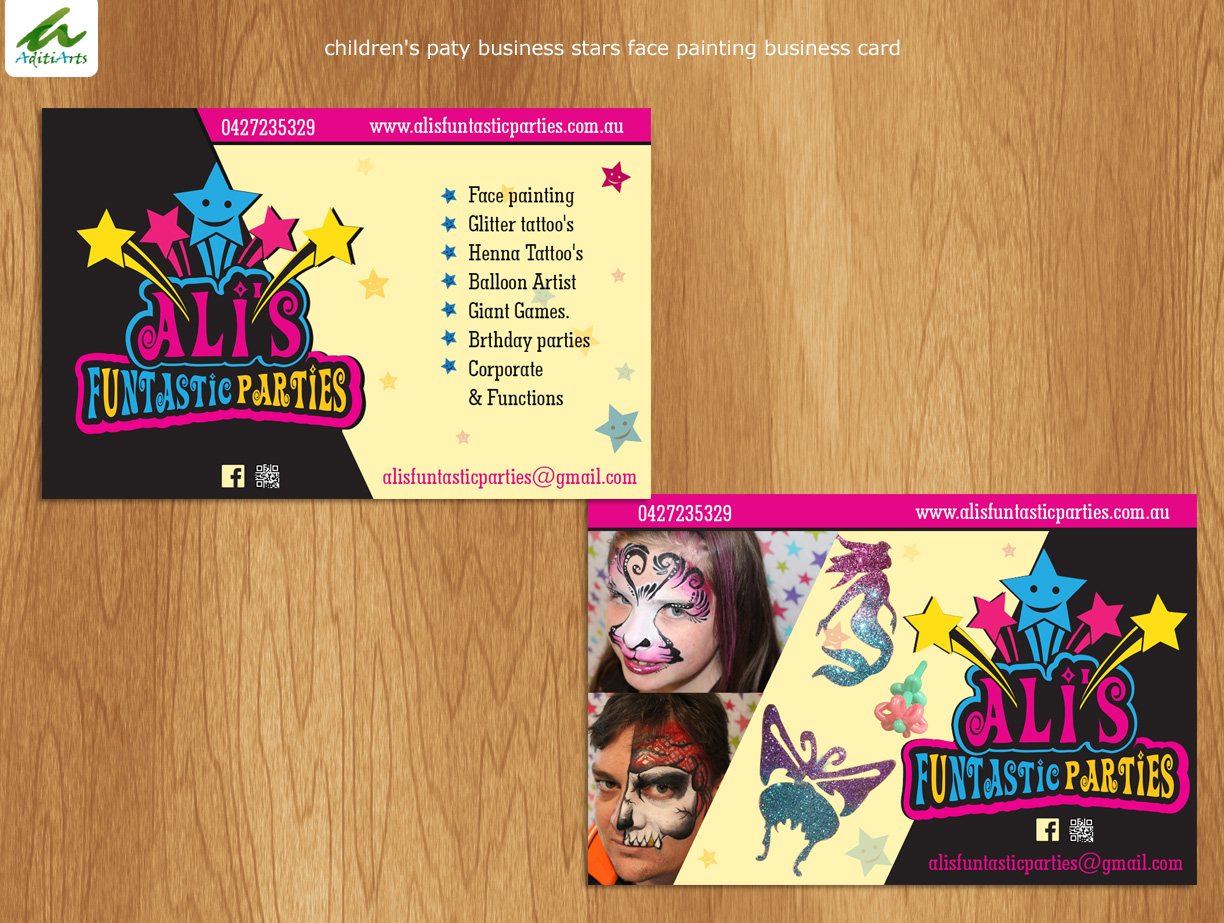 Playful colorful business card design for alison wightwick by business card design by aditiarts for childrens paty business stars face painting design 7651859 magicingreecefo Gallery