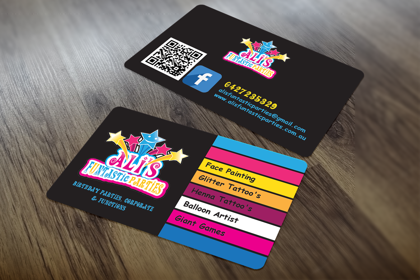 Playful colorful business card design for alison wightwick by business card design by sajin for childrens paty business stars face painting design 7642965 magicingreecefo Gallery