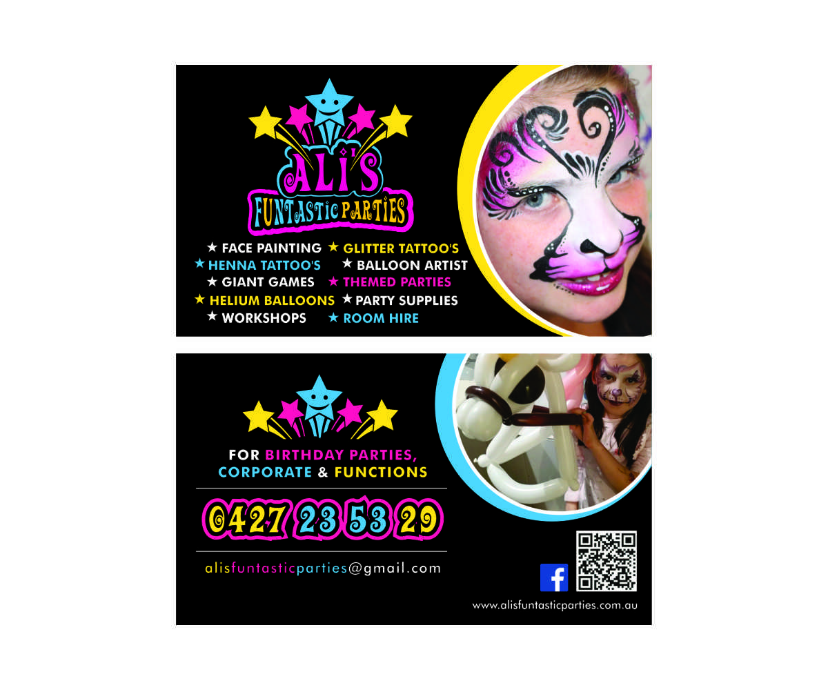 Playful colorful business card design for alison wightwick by cut business card design by cut and glue for childrens paty business stars face painting design magicingreecefo Gallery