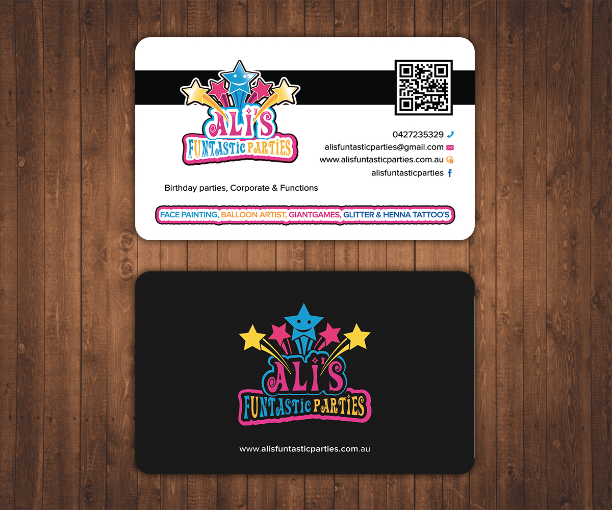 Playful colorful party planning business card design for a company business card design by stylez designz for this project design 7661744 colourmoves