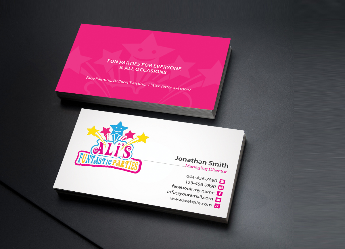 Playful, Colorful, Party Planning Business Card Design for a Company ...
