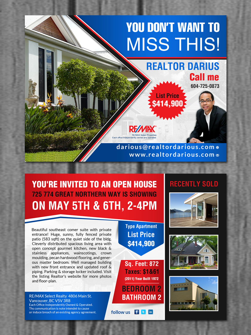 professional serious realtor flyer design for re max select realty