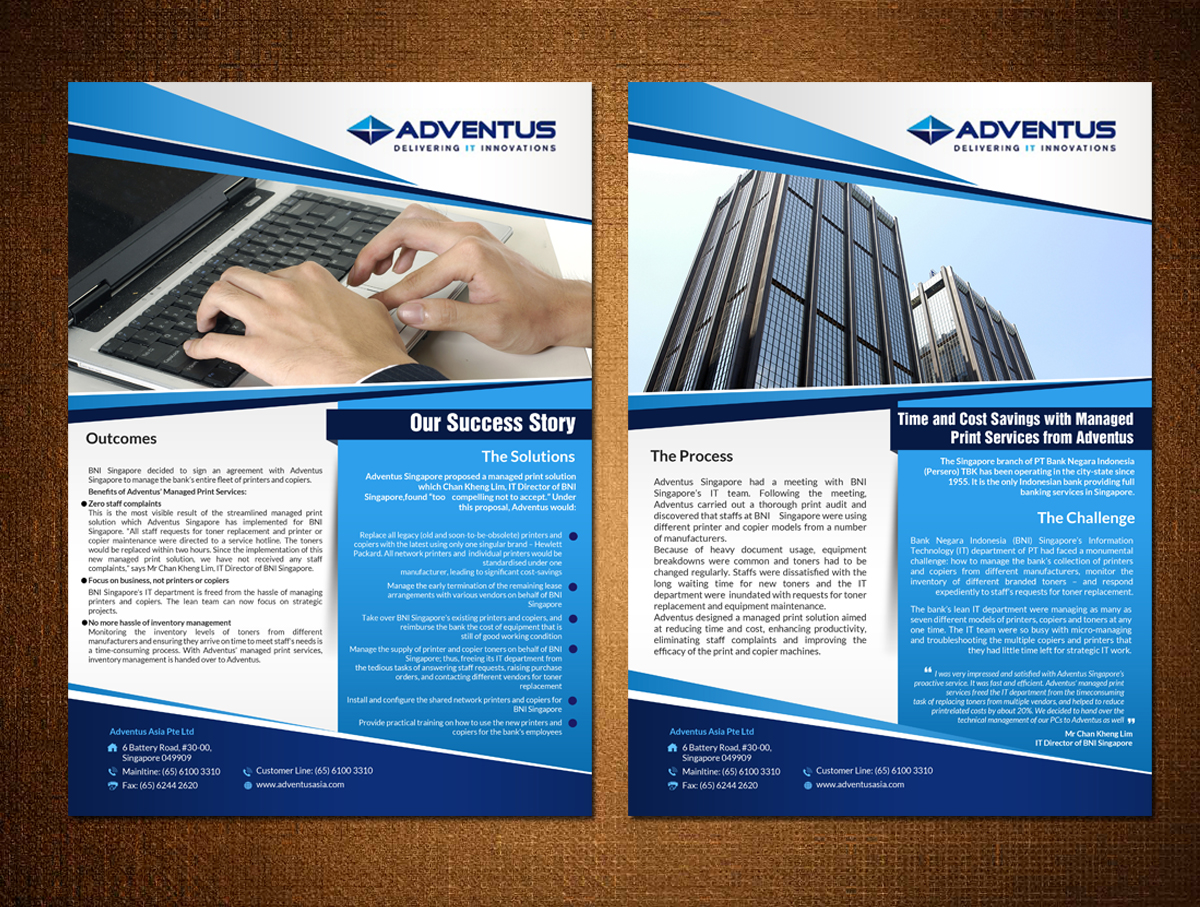 elegant playful flyer design for a company in singapore design 7605701 - Managed Services Brochure Template