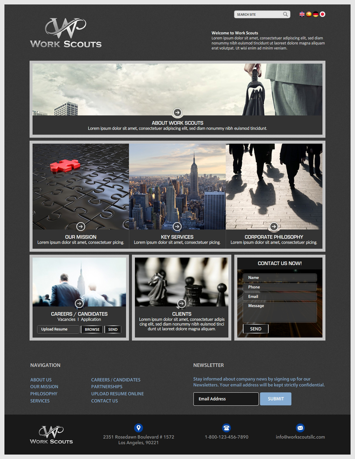 Conservative, Serious, Employment Agency Web Design for Work Scouts