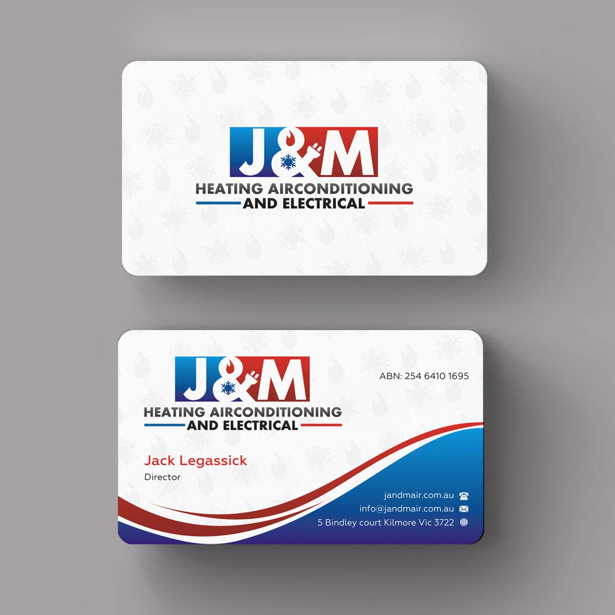 bold serious business card design for j&m heating airconditioning