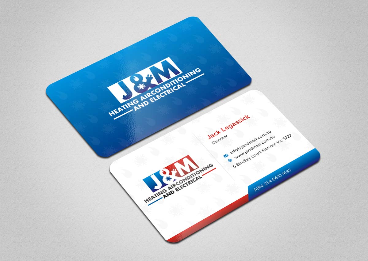 Bold serious business card design for jm heating airconditioning business card design by indianashok for double sided business card for heating air conditioning and electrical magicingreecefo Images