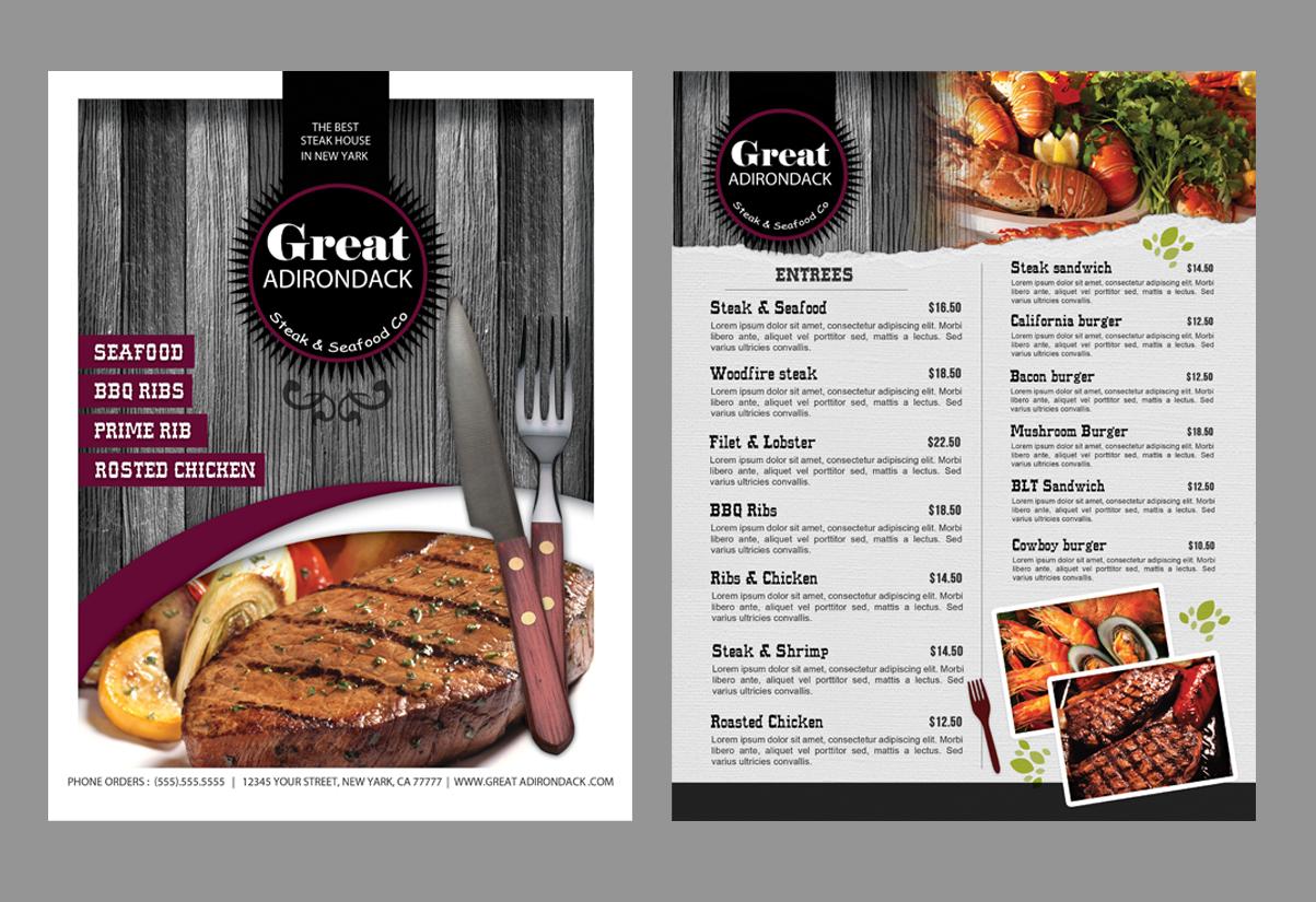 elegant, playful, restaurant menu design for great adirondack steak