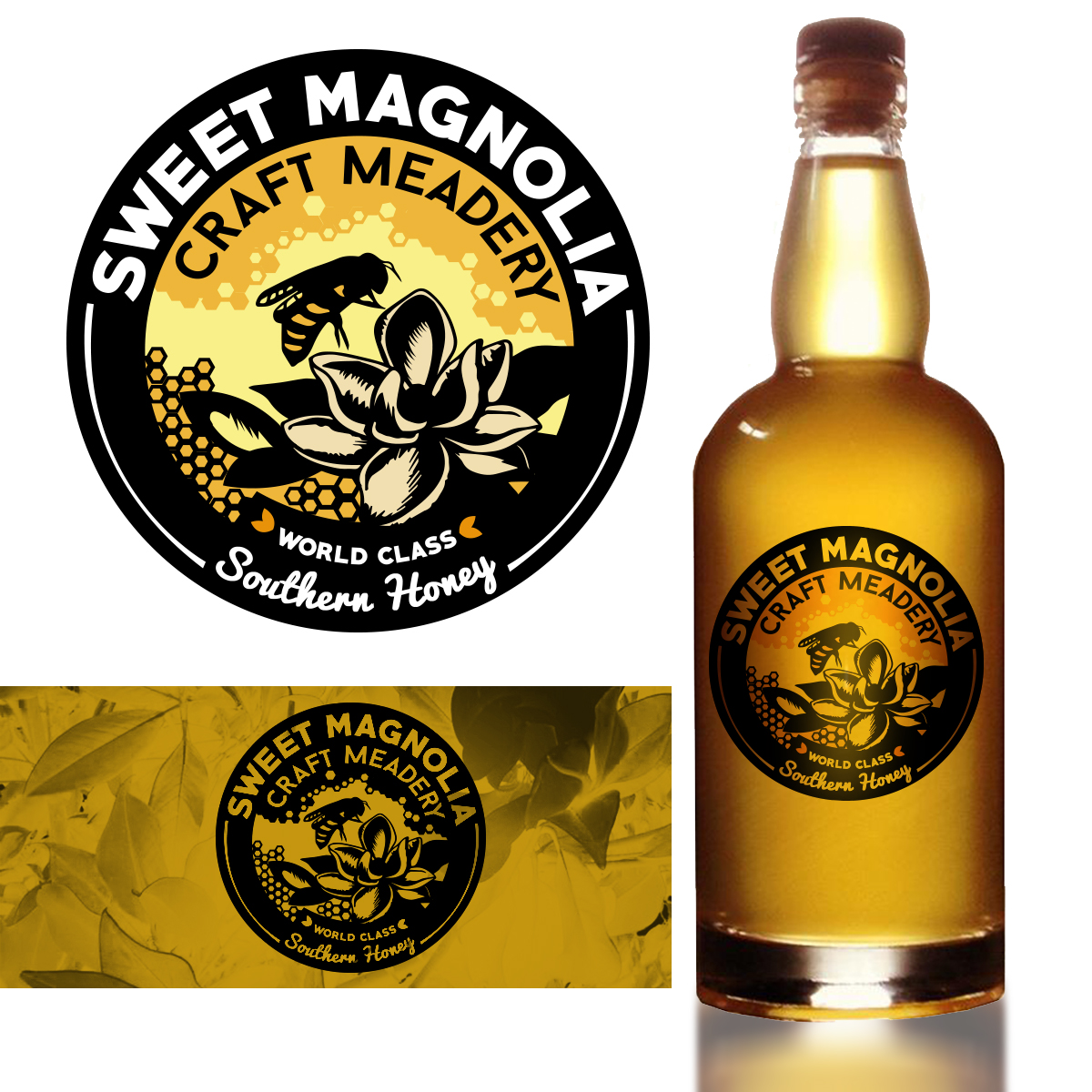 Magnolia Logo Design by Maddy McGrath for a Craft Honey Wine Company